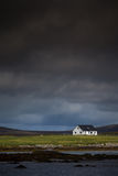 Isolated House next to the sea. At North Uist in the Outer Hebrides Stock Images