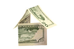 Isolated House Of Dollars Royalty Free Stock Photos