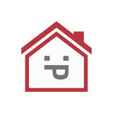 Isolated house with a sticking out tongue text face Stock Photography