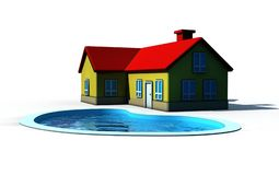 Isolated house with swimming pool Royalty Free Stock Image