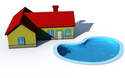 Isolated house with swimming pool Stock Photo