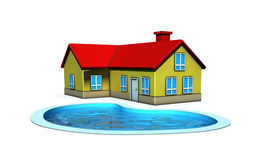 Isolated house with swimming pool Royalty Free Stock Photos