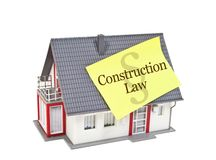Isolated house with tag construction law stock photo