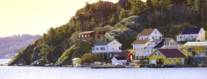 Isolated houses in Norway Royalty Free Stock Photos
