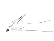 Isolated human hand side view holding brush sketch vector Stock Photo