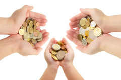 Isolated of human's hands holding coins Stock Photos