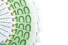 Isolated hundred euro banknotes. Close-up of 100 Euro banknotes isolated on white background Stock Photos