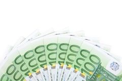 Isolated hundred euro banknotes 2. Close-up of 100 Euro banknotes isolated on white background Royalty Free Stock Photo
