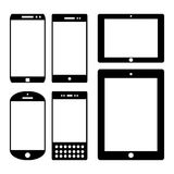 Isolated icon silhouette set smartphone mobile Royalty Free Stock Photo