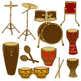 Isolated icons of drum kit and percussion Royalty Free Stock Photography