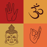 Isolated icons or seamless pattern of buddhism attributes Stock Photos