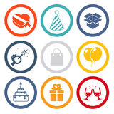 Isolated icons set Gift, Party, Birthday Royalty Free Stock Image