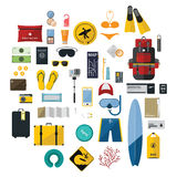 Isolated icons set of travel in flat design. Royalty Free Stock Photos