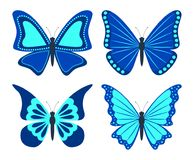 Set of butterflies. Flat style. Isolated icons on white background. Vector illustration royalty free illustration