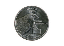Isolated Idaho quarter Stock Photography
