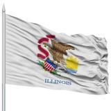 Isolated Illinois Flag on Flagpole, USA state Stock Images