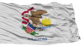 Isolated Illinois Flag, USA state. Waving on White Background, High Resolution Stock Images