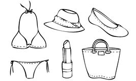 Isolated Illustrated Vector Set of a Beach Outfit for a Woman Royalty Free Stock Photography