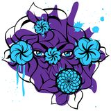 Mysterious Eyes - Violet Card. Isolated illustration with a blue mysterious eyes, flowers, violet blots and black contour of leaves. Creative hand-drawn design Stock Photos
