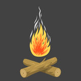 Isolated illustration of campfire logs burning bonfire and firewood stack vector blazing power. Isolated illustration of campfire logs burning bonfire and Royalty Free Stock Image