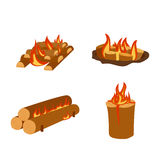 Isolated illustration of campfire logs burning bonfire and firewood stack vector. Wood explosion glowing nature blazing power. Flammable yellow glowing sparks Royalty Free Stock Images