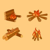 Isolated illustration of campfire logs burning bonfire and firewood stack vector. Wood explosion glowing nature blazing power. Flammable yellow glowing sparks Stock Photo
