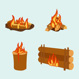 Isolated illustration of campfire logs burning bonfire and firewood stack vector. Wood explosion glowing nature blazing power. Flammable yellow glowing sparks Stock Photos