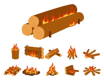 Isolated illustration of campfire logs burning bonfire and firewood stack vector. Wood explosion glowing nature blazing power. Flammable yellow glowing sparks Stock Images