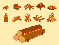 Isolated illustration of campfire logs burning bonfire and firewood stack vector. Wood explosion glowing nature blazing power. Flammable yellow glowing sparks Stock Image