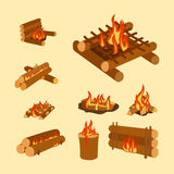 Isolated illustration of campfire logs burning bonfire and firewood stack vector. Wood explosion glowing nature blazing power. Flammable yellow glowing sparks Royalty Free Stock Photo