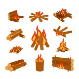 Isolated illustration of campfire logs burning bonfire and firewood stack vector. Wood explosion glowing nature blazing power. Flammable yellow glowing sparks Royalty Free Stock Photos