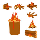 Isolated illustration of campfire logs burning bonfire and firewood stack vector. Wood explosion glowing nature blazing power. Flammable yellow glowing sparks Stock Photography