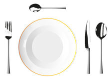 Cutlery and plates. Isolated illustration eps 10 Cutlery and plates prepared to receive food Stock Images