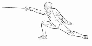 Illustration of a fencer , vector draw Stock Photo