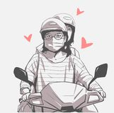 Isolated illustration of girls riding motorbike, motorcycle with face mask, helmet and glasses. Stylized drawing of pair of young asian girls riding scooter in Stock Image