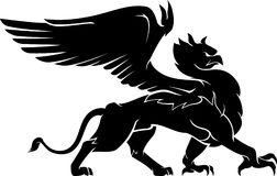 Griffin Pride. Isolated illustration of a griffin walking proudly but fiercely in side view royalty free illustration