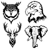 Isolated illustration of head of an eagle, owl, deer and elephant. Vector illustration of head of an eagle, owl, deer and elephant stock illustration