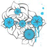 Mysterious Blue Eyes with Grey Contour. Isolated illustration with a mysterious blue eyes, flowers, blots and grey silhouette of leaves. Creative hand-drawn Royalty Free Stock Photos