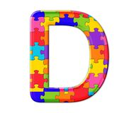 Free Isolated Illustration Of The Letter D Consisting Of Colorful Puzzle Pieces On White Background Stock Photography - 208967612