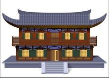 Oriental house with welcoming open door. Isolated illustration of an Oriental house with welcoming open door inviting you in stock illustration