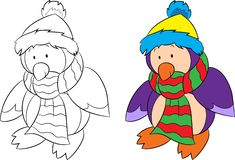 Before and after isolated illustration of a penguin, black and white and color, for children`s coloring book or Christmas card. Beautiful before and after vector illustration