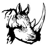 Isolated illustration of a rhinoceros head. Vector isolated illustration of a rhinoceros head Royalty Free Stock Image
