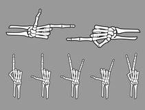 Skeleton Hand Gestures Set. Isolated illustration of selected varied bone hand gestures set vector illustration