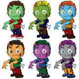 Isolated illustration of a set of zombies. Vector illustration of a set of zombies Stock Photo