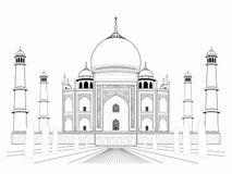 Illustration of an taj mahal , vector draw. Isolated illustration of an taj mahal , black and white drawing, white background stock illustration