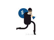 Isolated illustration thief with bag of money stock illustration