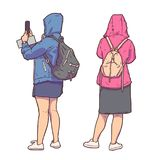 Isolated illustration of tourist girls sightseeing, taking pictures and wearing raincoats in color Royalty Free Stock Images