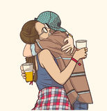 Isolated illustration of young couple hugging and holding plastic cups at festival in color. Stylized drawing of young students hugging each other at music Royalty Free Stock Images