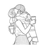Isolated illustration of young couple hugging and holding plastic cups at festival in color. Stylized drawing of young students hugging each other at music Royalty Free Stock Image