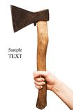 Isolated image of axe. In female hand Royalty Free Stock Images
